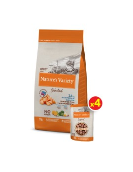 NATURE´S VARIETY Gato Selected Esterilizado Salmón 7Kg + Regalo Pack Pouches