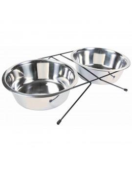 TRIXIE Set Comederos en alto 2 × 2,8 l/diametro plato 24 cm