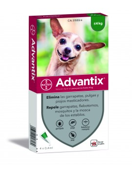 ADVANTIX Caja 4 pipetas perros hasta 4 Kg