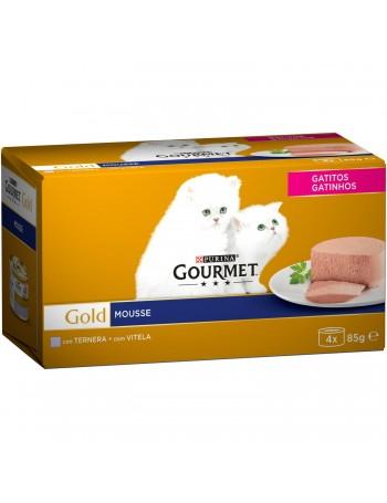 Gold mousse gatitos ternera 4x85gr