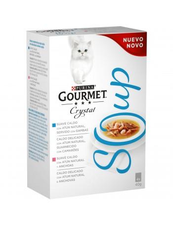 Gourmet Cristal Soup Atún con Gambas y Atún con Anchoas Pack 4x40g