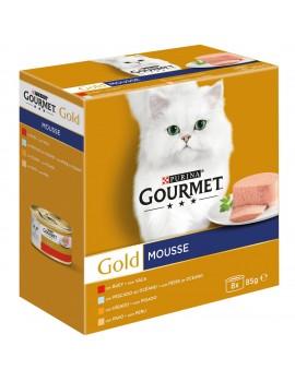 GOURMET Gold Mousse Buey, Pescado, Hígado y Pavo 8x85g