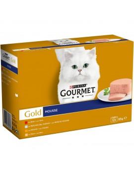 GOURMET Gold Mousse Buey, Pescado, Hígado y Pavo 12x85g